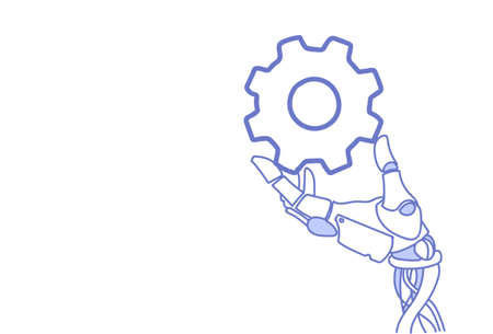 robot hand holding cog wheel virtual assistance repair support process concept artificial intelligence sketch doodle horizontal vector illustration