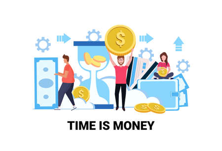 business people holding dollar coin banknote save time money saving concept growth wealth successful teamwork cartoon character full length flat horizontal vector illustration Vectores