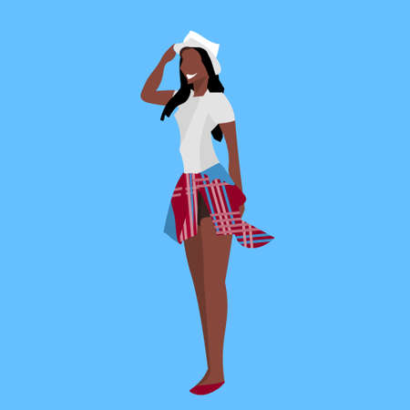 casual african american woman standing pose holding hat summer relax happy lady female cartoon character full length blue background flat vector illustration