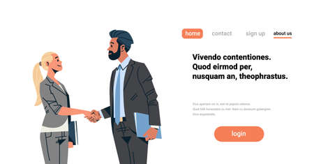 business couple handshake agreement concept businessman woman hand shake partnership communication male female cartoon character isolated flat portrait horizontal copy space vector illustration 向量圖像