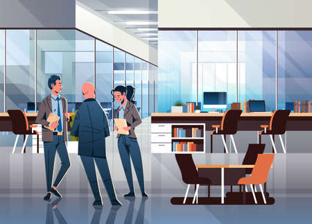 business people communicating concept modern coworking office interior creative workplace male female cartoon character full length horizontal flat vector illustration Ilustração