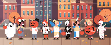 kids wearing monsters costumes walking town home buildings front view holiday concept tricks or treat happy halloween cartoon character full length horizontal banner flat vector illustration Vettoriali