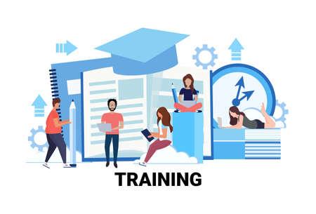 gruppo di persone apprendimento corsi aziendali concetto di formazione uomini donne studenti istruzione in linea studiando processo maschio femmina personaggio dei cartoni animati piatto orizzontale vettore