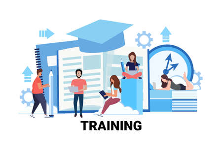 people group learning business courses training concept men women students online education studying process male female cartoon character flat horizontal vector illustration
