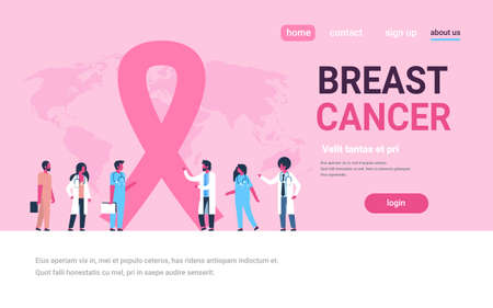 ribbon cancer day mix race male female doctors group forum communication concept disease awareness prevention poster woman man cartoon character horizontal copy space flat vector illustration
