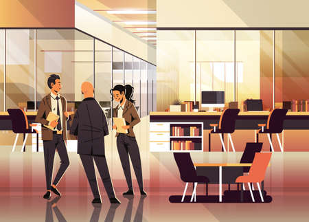 business people communicating concept modern coworking office interior creative workplace male female cartoon character full length horizontal flat vector illustration  イラスト・ベクター素材