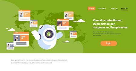 Robot chatbot online messenger pueblo indio concepto de aplicación de comunicación global mapa del mundo de fondo plano horizontal copia espacio ilustración vectorial