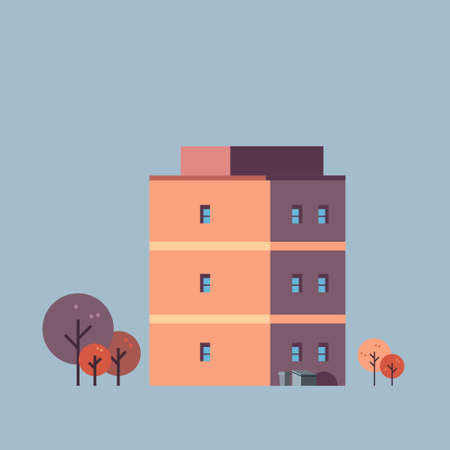 city building house urban real estate concept architecture design gray background isolated flat vector illustration