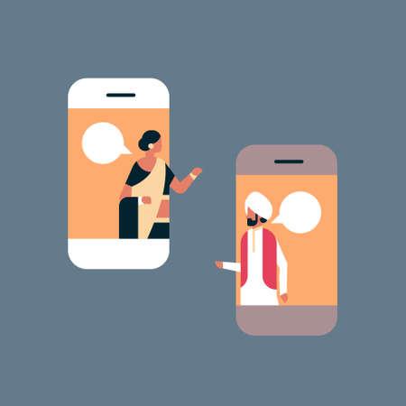 indian couple chat bubble mobile application online communication concept speech dialogue indian man woman cartoon character portrait horizontal flat vector illustration Vector Illustratie