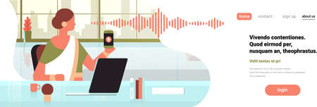 indian businesswoman hold phone intelligent voice personal assistant recognition sound waves technology concept office interior background horizontal banner copy space flat vector illustration