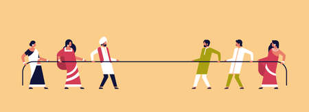 tug of war indian people team pulling opposite ends of rope against each other cartoon character full length indian man woman competition horizontal flat vector illustration