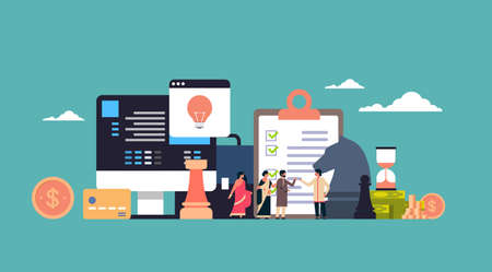 indian businesspeople brainstorming business tactics strategy concept project new idea start up flat horizontal full length vector illustration