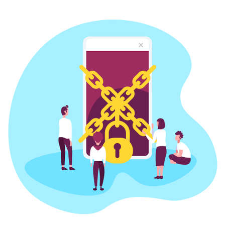 business people trying get access chain padlock smartphone data protection concept mobile application man woman working together flat vector illustration