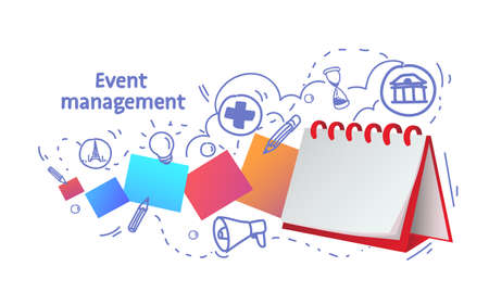 notebook reminder icon agenda event management concept sketch doodle horizontal vector illustration