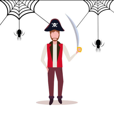 man wearing pirate costume holding sword spider web background happy halloween concept male cartoon character full length flat vector illustration