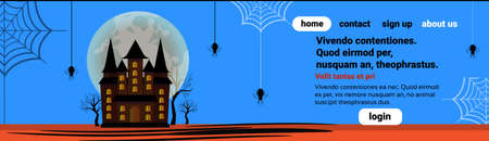 haunted house castle spider web happy halloween celebration concept full moon blue background flat horizontal banner copy space vector illustration