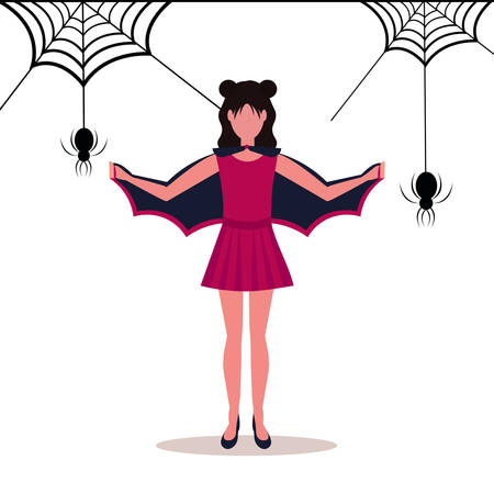 woman wearing bat costume holding wings happy halloween concept spider web isolated background female cartoon character full length flat vector illustration Illustration
