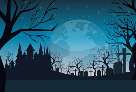 cemetery graveyard grave stone night full moon castle dracula house happy halloween concept horizontal flat vector illustration