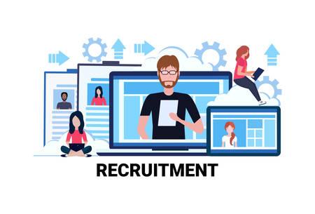 Lebenslauf Rekrutierung Bewerber Job Position Lebenslauf Profil Lebenslauf Geschäftsleute mieten flache horizontale Vektorillustration