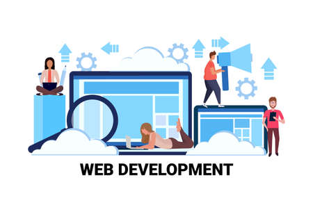 web development concept successful teamwork strategy horizontal flat vector illustration