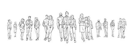 set business people communication during meeting, agreement in front of businesspeople discussion colleagues communicating full length concept on white background hand draw silhouette sketch vector illustration
