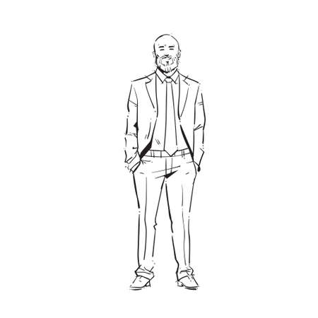 business man executive hold hands pocket concept businessman full length on white background hand draw silhouette sketch vector illustration