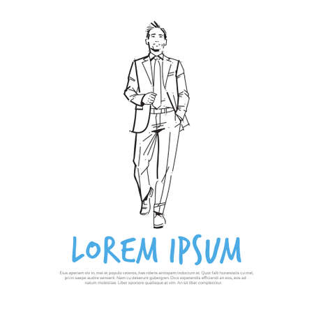 business man executive hand pocket concept businessman full lengthon white background hand draw silhouette sketch vector illustration