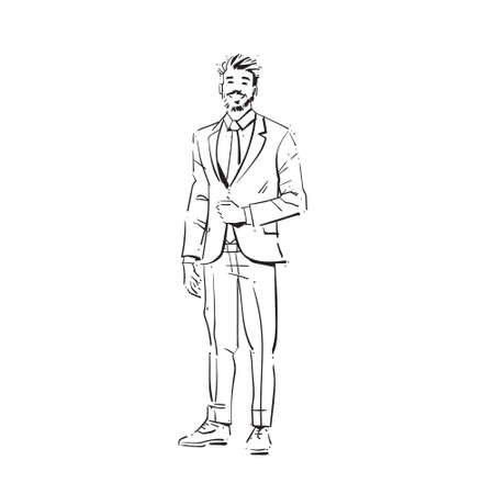 business man executive concept businessman full length on white background hand draw silhouette sketch vector illustration