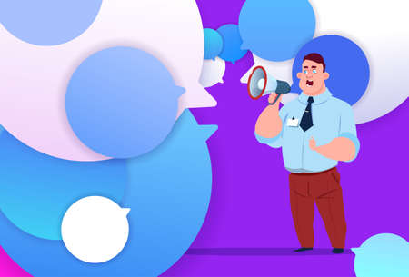 profile businessman hold megaphone new idea chat support over bubbles backgroung male emotion avatar, man cartoon icon full length flat vector illustration