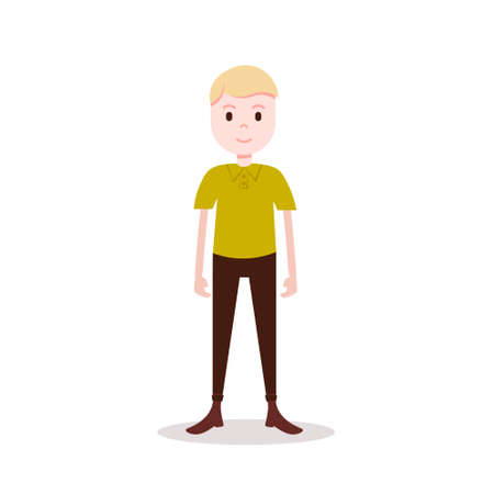 boy blond character serious male yellow shirt template for design work and animation on white background full length flat person vector illustration Illusztráció