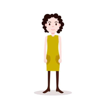 girl brunette character serious female yellow dress template for design work and animation on white background full length flat person vector illustration Illusztráció