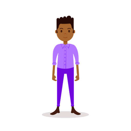 african boy character serious male violet suit template for design work and animation on white background full length flat person vector illustration Illusztráció