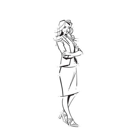 business woman folded hands concept businesswoman full length on white background hand draw silhouette sketch vector illustration Illusztráció
