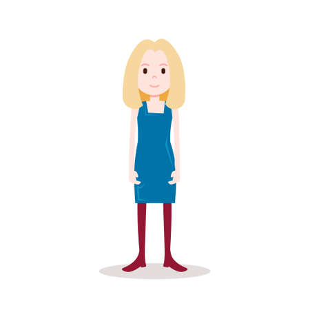 girl blonde character serious female blue dress template for design work and animation on white background full length flat person vector illustration