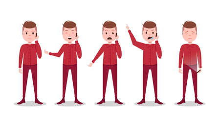 set teen boy character different poses and emotions phone call male red suit template for design work and animation on white background full length flat person, vector illustration Illustration
