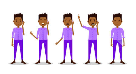 set african teen boy character different poses and emotions phone call male violet suit template for design work and animation on white background full length flat person, vector illustration