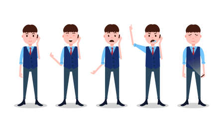 set teen boy character different poses and emotions phone call male business suit template for design work and animation on white background full length flat person, vector illustration Vektorové ilustrace