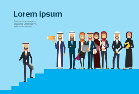 arab businessman talking megaphone with business team, arabic group traditional clothes, career progression concept, full length business agreement and partnership, copy space, flat vector illustration