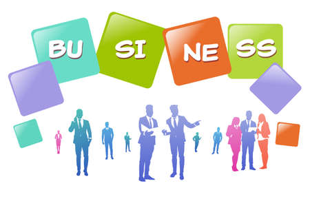 colourful business people silhouette, group of diversity businessman, successful team concept A4 hotizontal vector illustration