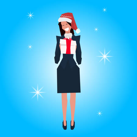 brunette businesswoman wearing red hat hold gift box happy new year merry christmas concept flat female cartoon character blue background full length copy space vector illustration