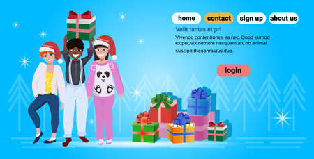 mix race people wearing red hat happy new year merry christmas concept flat gift box decoration blue background full length horizontal copy space vector illustration