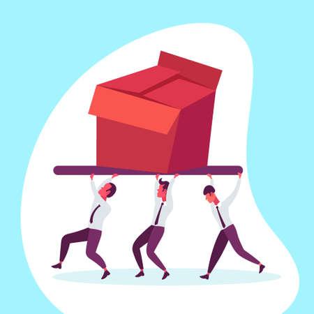 businessmen team carrying box delivery package teamwork concept men working together holding huge cardboard parcel male cartoon character full length flat vector illustration Ilustração