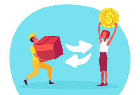 businesswoman change cardboard box from courier man to money dollar coin seller customer relationships concept postman giving parcel woman full length flat horizontal vector illustration