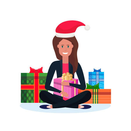 woman red hat sitting lotus pose gift box decoration new year merry christmas concept flat female cartoon character isolated vector illustration
