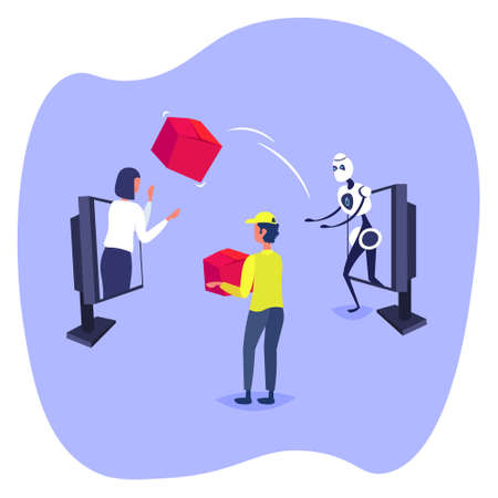robot throwing cardboard box to woman customer from laptop screen online shopping artificial intelligence concept e-commerce flat vector illustration