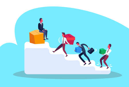 businessmen carrying box package top podium ladder career competition leadership concept man hard working process male cartoon character full length flat vector illustration Ilustração