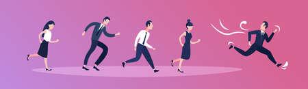 Geschäftsmann auf der Flucht vor Geschäftsleuten Karriere Wettbewerb Konzept horizontale Banner-Vektor-Illustration