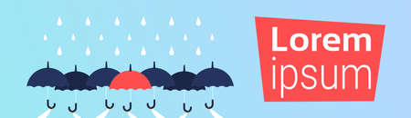 human hands holding umbrellas over rain uniqueness individuality difference concept business protection horizontal copy space vector illustration