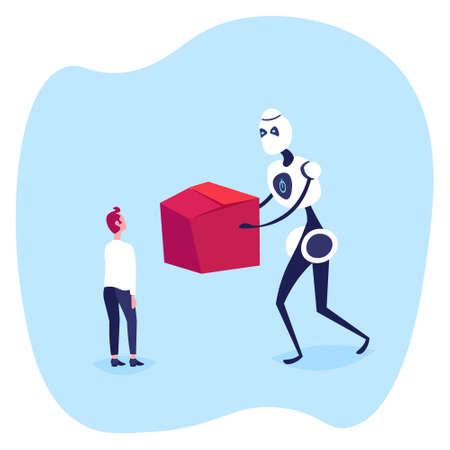 businessman receiving cardboard box from modern robot courier online shopping artificial intelligence concept e-commerce full length flat vector illustration