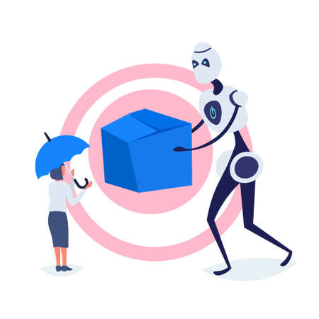 businesswoman receiving cardboard box from modern robot courier online shopping artificial intelligence concept e-commerce protection full length flat vector illustration